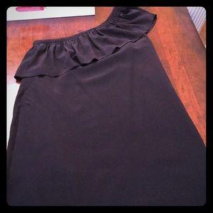 Madewell 100% Silk one shoulder black dress